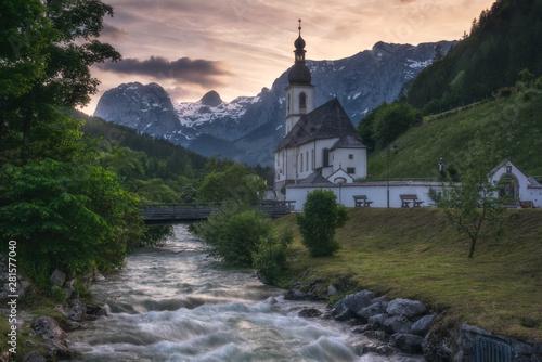 Door stickers Forest river St. Sebastian Church in Ramsau bei Berchtesgaden