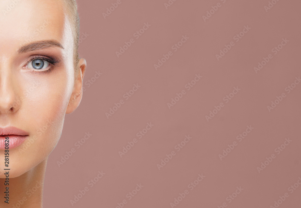 Fototapety, obrazy: Beauty portrait of healthy and attractive woman. Human face in a concept of spa, skin care, cosmetics, make-up, complexion and face lifting.