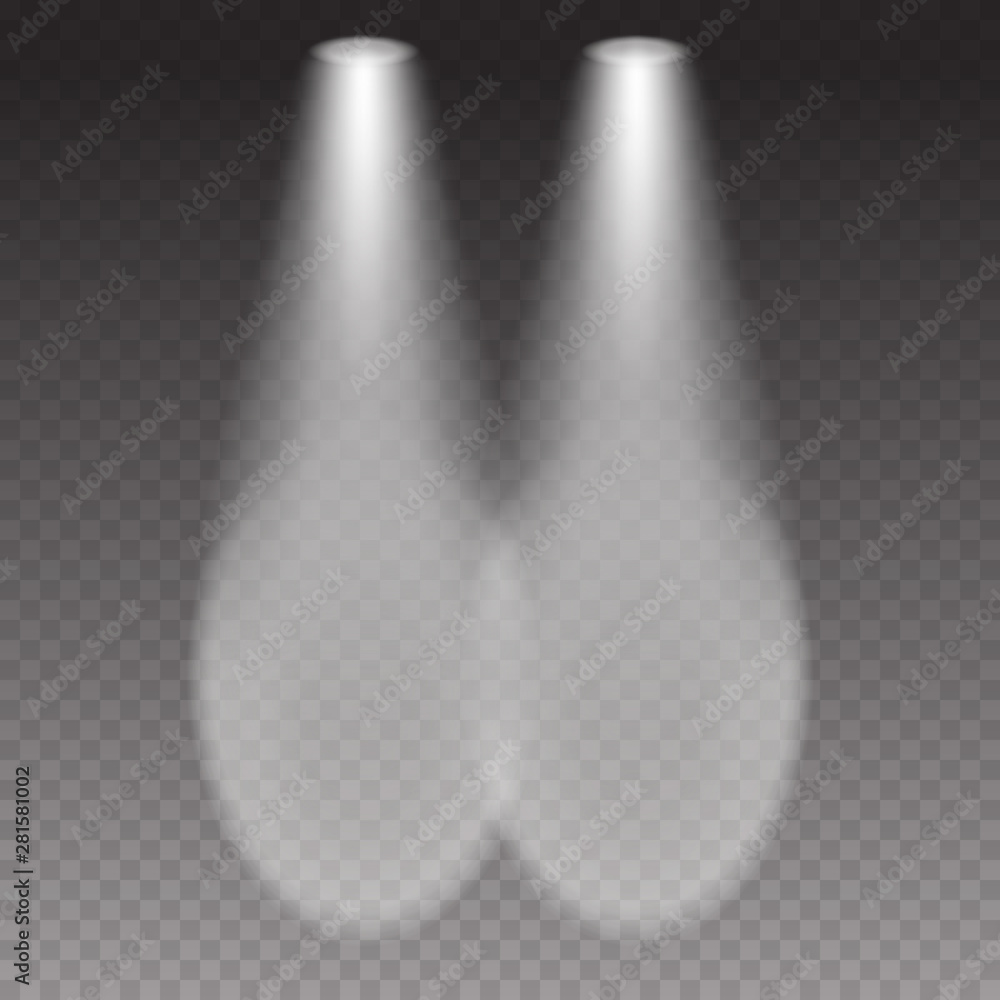Fototapeta Cars headlight effect top view. White flares beams isolated on transparent background. Vector bright train lights template. - obraz na płótnie