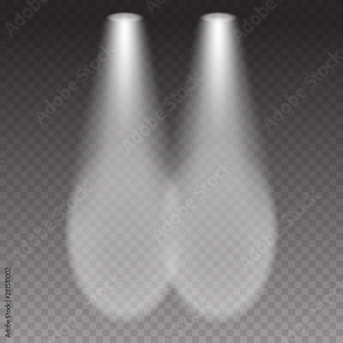 Fototapeta Cars headlight effect top view. White flares beams isolated on transparent background. Vector bright train lights template. obraz na płótnie