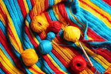 Multi-colored Striped Crochet, Crochet Hook And Yarn.
