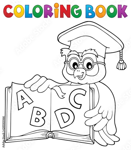 Poster de jardin Enfants Coloring book owl teacher theme 4