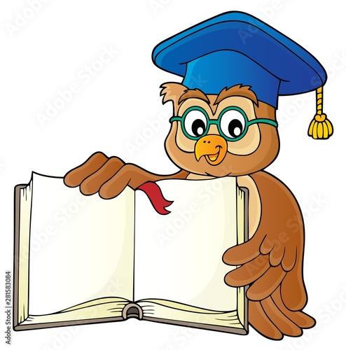 Foto auf AluDibond Für Kinder Owl teacher with open book theme image 1
