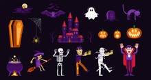 Halloween Characters And Icons Set In Cartoon Style. Vampire, Zombie, Mummy And Other Monsters To Celebrate Halloween.