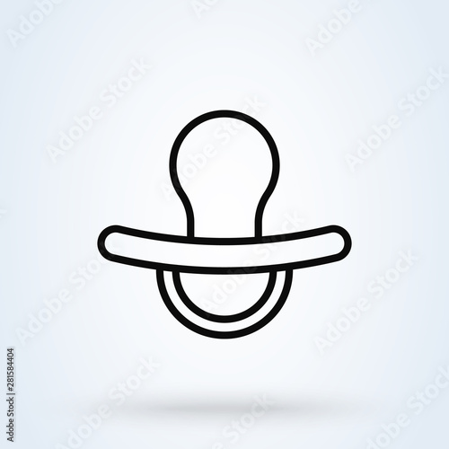 Obraz na plátně  Nipple, Pacifier. line art Simple modern icon design illustration