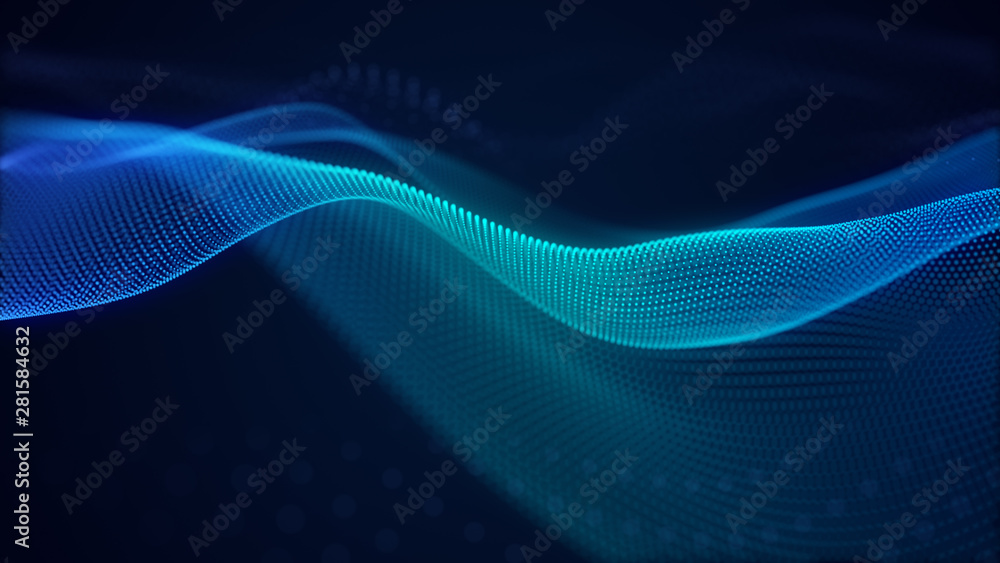 Fototapety, obrazy: beautiful abstract wave technology background with blue light digital effect corporate concept