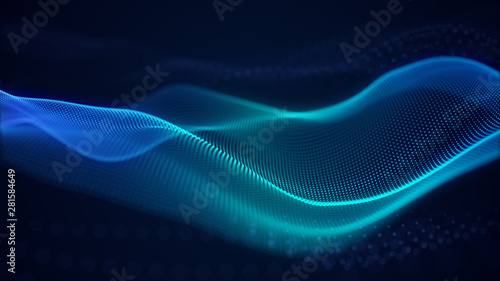 Fond de hotte en verre imprimé Abstract wave beautiful abstract wave technology background with blue light digital effect corporate concept