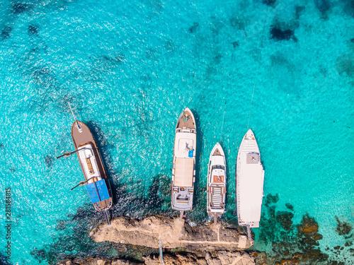 Panorama beach Blue Lagoon Comino Malta. Aerial view