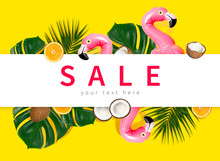 Creative Concept Of Summer Sales. Inflatable Pink Mini Flamingo Tropical Palm Leaf Monstera Coconut Orange On Yellow Background Pool Float Party. Flat Lay Flamingo Trend Inflatable Toy Discounts Sale