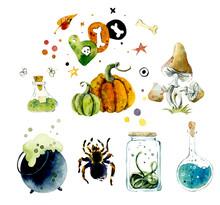 Watercolor Set Of Halloween Elements. Bright Hand-drawn Elements, Mushroom, Spider, Poison, Pumpkin