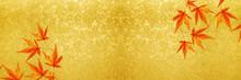 金箔のバナーとモミジ
