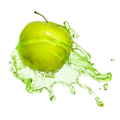 green apple in juice stream