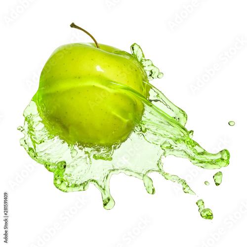 green apple in juice stream