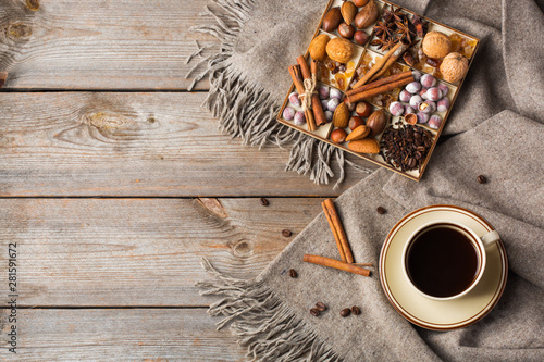 Autumn, winter hygge home decor composition, coziness concept Fototapet