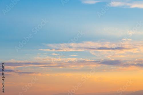 Foto auf Gartenposter Nordlicht Pink vanilla heaven. Bright blue sky with gentle cumulus clouds. soft pastel colors