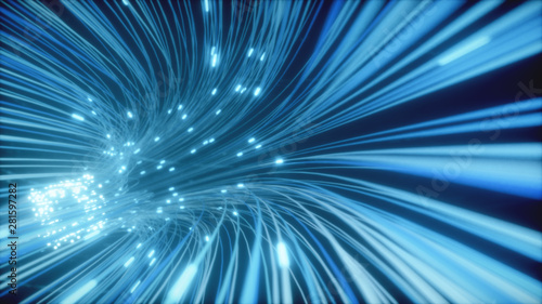 Fotomural  Abstract 3d illustration background of moving of lines for fiber optic network creating technology tunnel