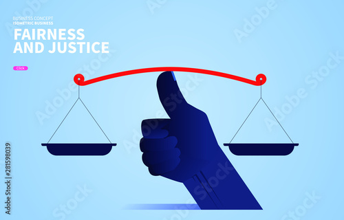 Fototapeta  The concept of fairness and justice, the huge thumb keeps the scales balanced