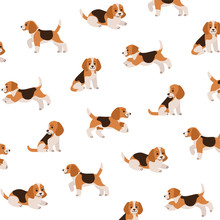 Cartoon Happy Beagle - Simple Trendy Pattern With Dogs. Flat Vector Illustration For Prints, Clothing, Packaging And Postcards.