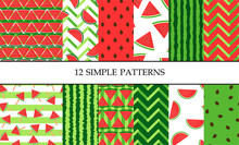 Set Of Vector Simple Colorful Seamless Patterns With Watermelon