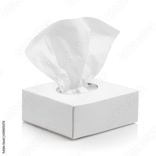 Tela White tissue box, isolated on white background