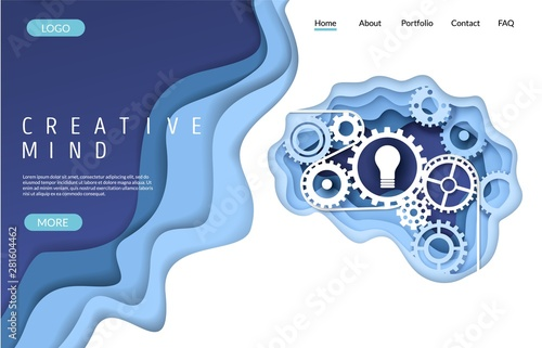 Creative mind vector website landing page design template Canvas Print