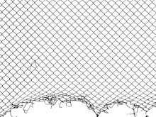 Silhouette Damage Wire Mesh On White Background