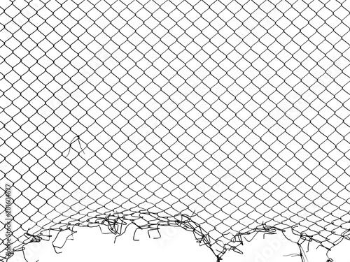 Fototapeta silhouette damage wire mesh on white background obraz