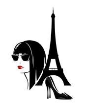 Stylish Young Woman With Modern Haircut, High Heeled Shoes And Eiffel Tower Silhouette - French Fashion Vector Design