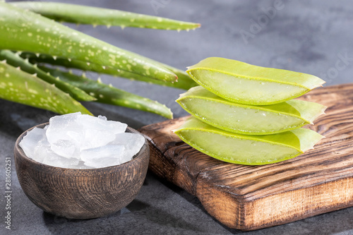 fototapeta na drzwi i meble Fresh aloe vera leaves, this plant is rich in vitamins, minerals and proteins.