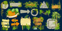 Set Cartoon Game Wooden And Stone Panels In Jungle Style With Space For Text. Isolated Gui Elements With Tropical Lianas, Rocks, Arrows And Boards. Vector Illustration On Dark Background.