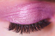 Beautiful false eyelashes and pink eyes shadow on closed eyelid closeup. Selective focus.