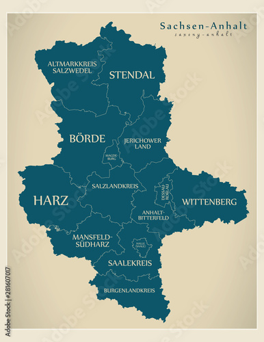 Modern Map Of Germany.Modern Map Saxony Anhalt Map Of Germany With Counties And