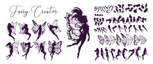 Cute Fairy Art. Beautiful Fairies Silhouette Collection, Little Fairies Set. Hand Drawn Vector Illustration