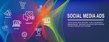 Social Media Ads Icon Set And Web Header Banner