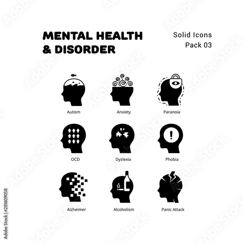 Mental Health and Disorder solid icons set Wallpaper Mural