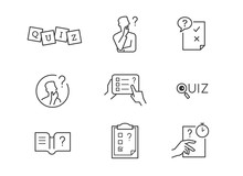 Quiz Icons. Vector Editable Line.