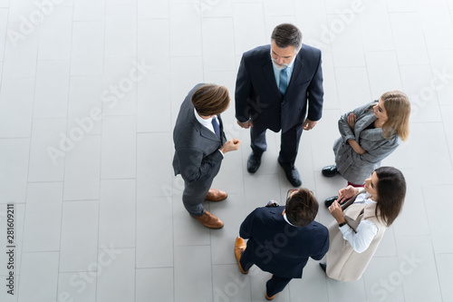 Obraz Top view of business people. Business meeting and teamwork. - fototapety do salonu