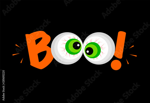 Fotografia, Obraz Halloween eyes with boo letterimg