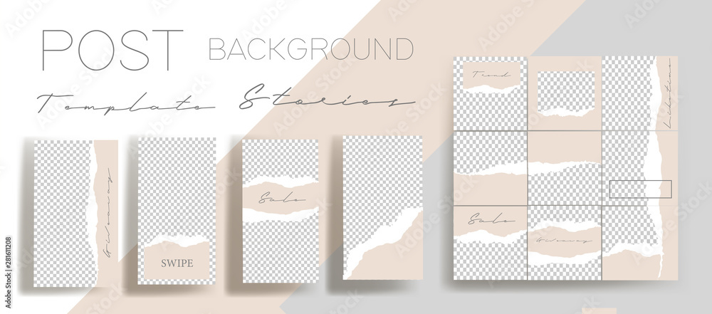 Fototapety, obrazy: Design backgrounds for social media banner. Set of instagram stories and post frame templates.Vector cover. Mock up for personal blog or shop.Layout for promotion.Endless square puzzle layout
