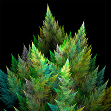 Computer Digital Fractal Art Design, Abstract Fractals Fantastic Shapes, Green Trees