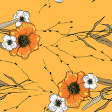 Vector Tropical Geometric Print. Memphis Colorful Template On Orange Background. Hand Drawn Leaf And Flower Daisies Texture. Seamless Floral Pattern.