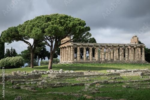 Poster Athene Tempel in Paestum, Salerno, Italien