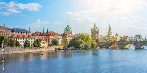 Foto auf Leinwand Prag View of the city of Prague and the Vltava River on a sunny day. Prague, Czech Republic.