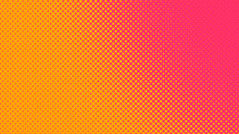 Orange And Magenta Retro Comic Pop Art Background With Dots, Cartoon Halftone Background Vector Illustration Eps10