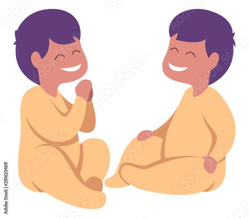 Fototapeta Baby Twins on White obraz na płótnie