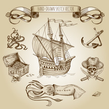 Old Caravel, Vintage Sailboat. Sea Monster, Giant Octopus, Squid, Pirate Treasures, Jolly Roger, Ancient Anchor. Hand Drawn Vector Sketch. Detail Of The Old Geographical Maps Of Sea