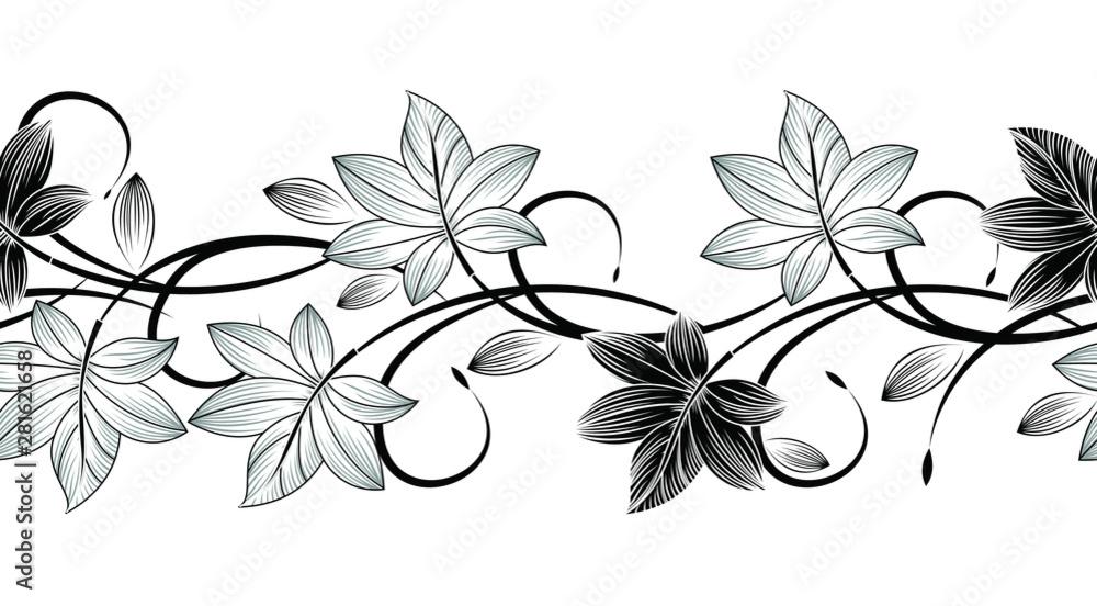 Fototapeta Seamless vector creative monochrome leaves border