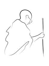 Line Art Illustration Of Mahatma Gandhi