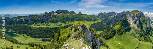 Obraz Switzerland, Appenzell, panorama view of Alpstein mountains - fototapety do salonu