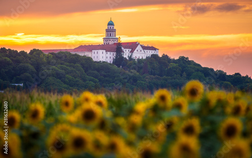 Pannonhalma Archabbey with sunflowers field at sunset time Wallpaper Mural